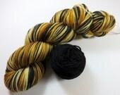 Sale 20% OFF -- Hand Painted Ultra Merino Superwash Sock/Fingering Yarn -- Bengal Tiger 80 Grams Plus 20 Grams of Black