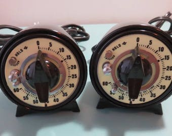 SJK Vintage -- My Dad's Estate -- Pair of Vintage Darkroom Timers with Glow Faces, Sixty Seconds, Mark-Time (1980's)