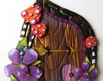 Toadstool Garden Fairy Door with a Pet Door by Claybykim Polymer Clay Miniature Fairy Gardens and Home