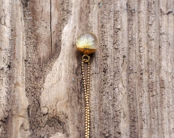 Mini Dandelion Necklace, Gold Plated Silver Pendant, Resin Jewellery,