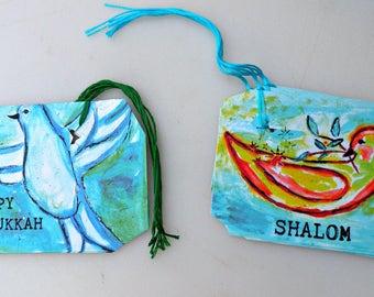 Gift Tags Set of 8 Happy Hanukkah, Shalom, Holiday, New Year, Art, Birds