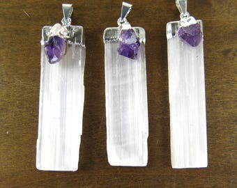 LOW Stock - Silver Plated Selenite Blade Pendant With Amethyst Point - (1x) (NS717-B)