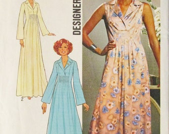 1970s Vintage Sewing Pattern Simplicity 7794 Misses Dress Pattern in Two Lengths Size 12 Uncut