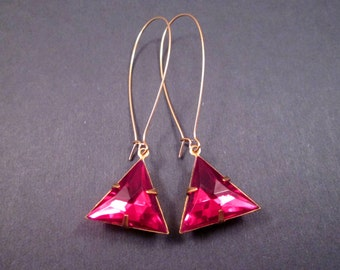 Rhinestone Earrings, Berry Pink Acrylic Stones, Triangle Earrings, Long Gold Drop Earrings, FREE Shipping U.S.