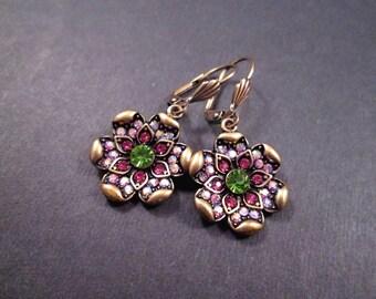 Flower Earrings, Pink and Green Glass Rhinestones, Brass Dangle Earrings, FREE Shipping U.S.