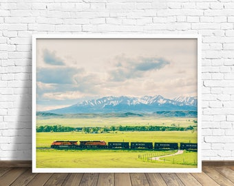 """landscape, landscape photograph, large art, large wall art, colorful, mountains, fields, montana, livingston, sky - """"The Afternoon Train"""""""