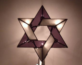 Star of David Tree Topper with Light Clips, Interfaith Star, Stained Glass Jewish Star, Six Point Star for Blended Families READY TO SHIP
