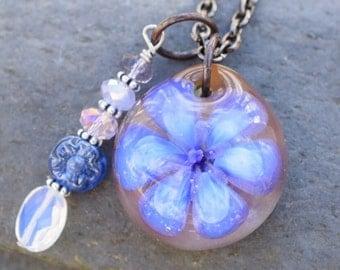 Glass Flower Pendant Boro Lily Lampwork Electric Hue