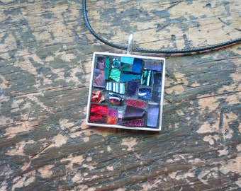 Jewel Toned Patchwork Mosaic Pendant with Silver Bezel