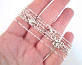 Silver plated finished chains,  links 2mm long, 1.5mm wide, 30 inch chain, D202