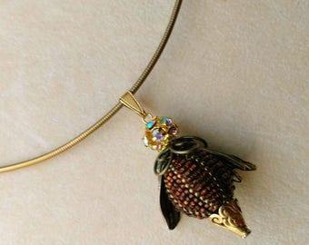 Beaded Bead Honey Bee Pendant, Beadwoven Bee Jewel . Vermeil Caps, Crystal Ball Insect Head, Antiqued Gold Wings . Bee Keeping . Halloween
