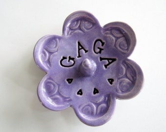 Gaga ring dish - Gift for Gaga - Keepsake Ring Dish -  Glazed in lilac purple - Gift box included