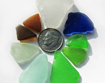 SALE! 9-Piece Lot of Craft-Quality Sea Glass in Earth Tones