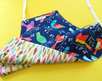 Toddler Girl's Apron • Reversible Apron for Kids • Children's Apron • Apron for Kids • Colorful Birds on Navy • Feathers • Love