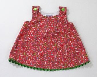 Pink Doodle Floral Newborn Girls' Dress, Girls' Pinafore, Girls' Sundress, Baby Shower Gift, New Baby Gift, Size Newborn