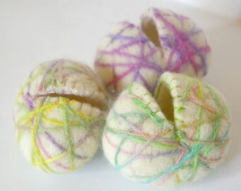 Felted Wool Easter Eggs : Set of THREE Hollow Eggs (All Natural, Reusable, Waldorf Inspired Toy)