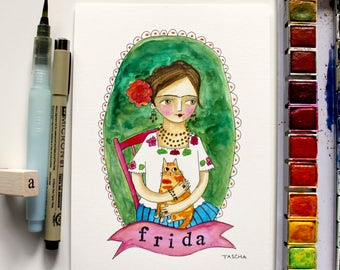 Original Watercolor FRIDA Kahlo with Orange tabby cat sweet hand drawn watercolor painting by artist Tascha 5x7
