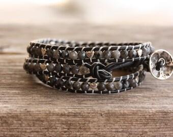 Black Triple Wrap Larvikite Leather Bracelet, Boho Bracelet, Stacking Bracelet, Healing Bracelet, Root Chakra