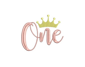 Whimsical Crown - ONE - First Birthday-  Machine Embroidery File design - 5x7 hoop - embroidery design