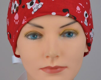 Scrub Hats // Scrub Caps // Scrub Hats for Women // The Mini // The Hat Cottage // Ribbon Ties // Valentine Puppies