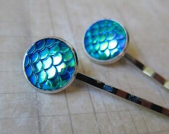 Mermaid Tales - Iridescent Blue Green Mermaid Scale Hair Pins (2 pcs)