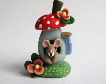 Miniature Wee Mouse in Toadstool Fairy House  OOAK by C. Rohal