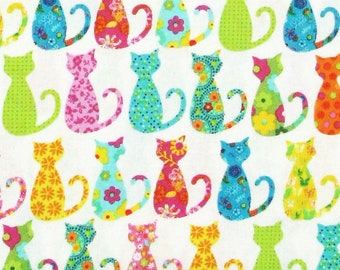 Michael Miller CALICO CAT White CX4911-WHIT-D fabric 1/2 yard