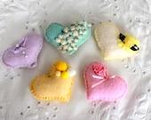 Ready-Made set of 5 Puffy Pastels Felt Love Token - Felt Valentine Hearts - OOAK, Novelty, Folk Art