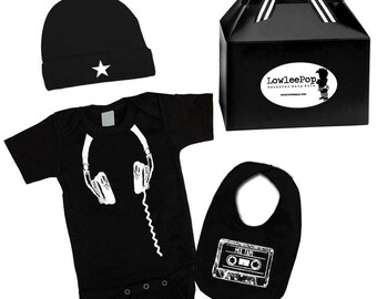 Baby Boy or Girl DJ 80's Rockstar Kit black layette star hat and Cassette Bib