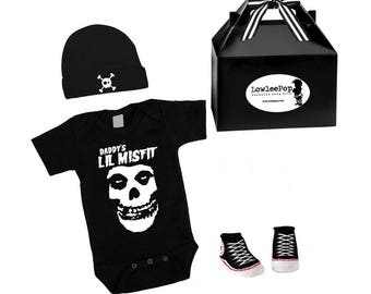 Daddy's Lil Misfit Punk Rock Baby Boy Rockstar Kit black onesie sneaker booties skull hat