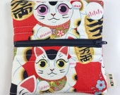 Lucky Cats Zipper Pouch For Mew Cat Love Coin Purse, Gift For Cat Lover