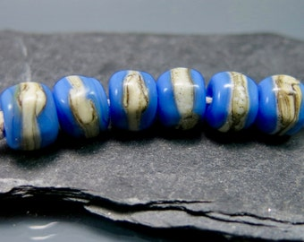 Handmade Lampwork Nugget Beads by GlassBeadArt … Periwinkle and silvered ivory ... SRA F12 ... 10x9mm