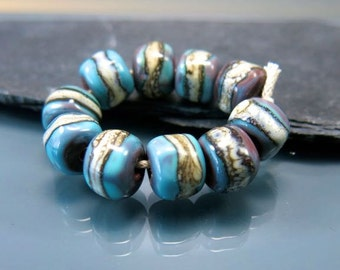 Handmade Lampwork Nugget Beads by GlassBeadArt … Copper blue and silvered ivory ... SRA F12 ... 11x7mm