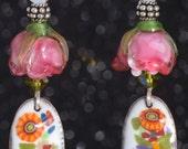 ROSES for DAYS Floral Lampwork Swarovski Crystal Enamel Sterling Silver Drop Earrings
