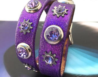 Purple Sparkle Leather Dog Collar with Industrial Sprockets and Gems, Size M, to fit a 14-17 Neck, Medium Dog, Eco-Friendly, Unique, OOAK