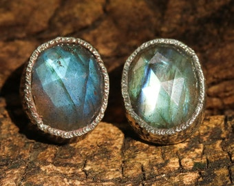 Oval labradorite faceted earrings in silver bezel setting with sterling silver post and backing