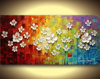 ORIGINAL art acrylic painting textured abstract wall art landscape wall decor white flowers blossoms daisies large canvas modern art