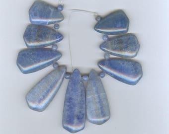 Graduated Stick Beads Blue Lace Agate Teardrop Gemstone Graduated Focal Bead Set of Fan Beads 5100T1