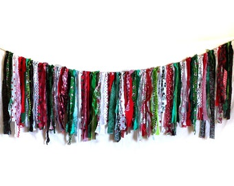 SALE Huge boho Christmas holiday fabric strip bunting, XL winter celebration, eco-friendly festival garland, rag tie scrappy banner, 74 in