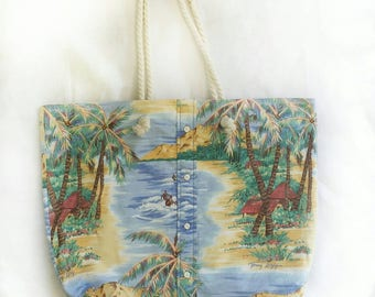 XL travel tote in tropical island paradise print, large reversible vacation beach bag, huge casual shoulder bag, reclaimed aloha shirt