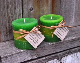 SALE: Pair of Glitter-ah-tea (Green Tea) Small Cylinder Candles