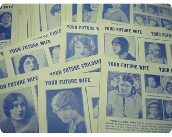 3 x Your FUTURE WIFE + CHILDREN Vintage Arcade Cards, Exhibit Supply Co 1930s