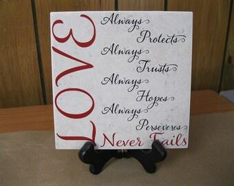 Love....Never Fails 6x6 Tile