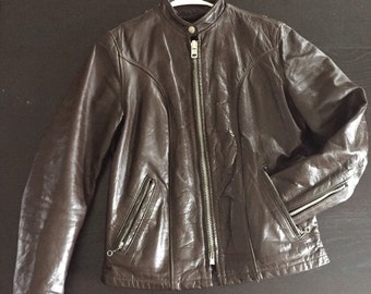 Vintage chocolate brown leather biker jacket- small