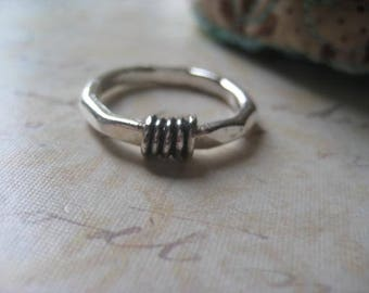 Faceted Ring, Wire Wrapped, Fine Silver, Sterling Silver, Hand Forged Ring, Stacking Ring, Oxidized Wrap, Size 8 Ring, candies64
