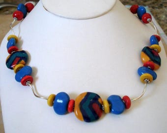 Colorful Kazuri Clay Bead Station Necklace, Kenya, Nairobi Africa