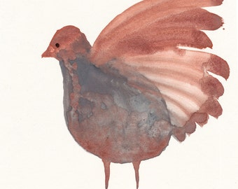 Bronze Grey Bird Original / gouache painting