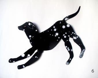 Black Dog Spotted / Black & White Articulated Decoration  / Hinged Beasts Series