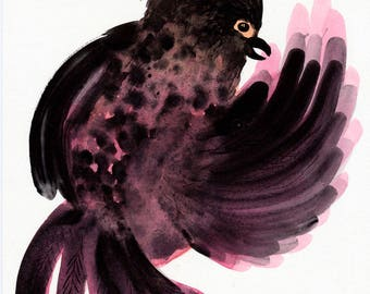 SALE Pink Bird Original / gouache painting