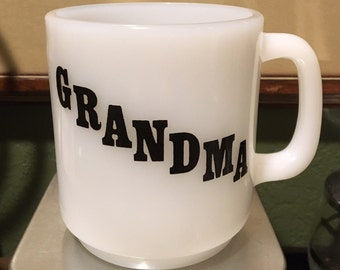 Vintage 1970s Grandma Milkglass Mug with Poem Epsteam White